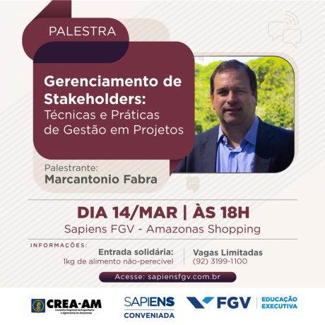 Palestra sobre Gerenciamento de Stakeholders tem inscrição gratuita em Manaus
